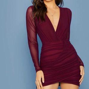 SHEIN Plunging Sheer Mesh Dress Burgundy SMALL